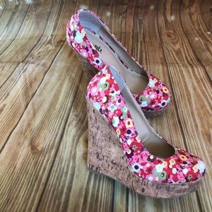 Y Not Floral Print Sure-S Fuchsia Melody Wedges